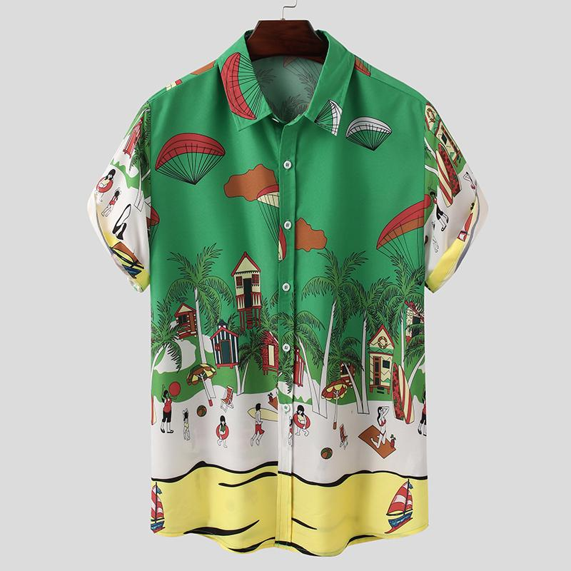 INCERUN Mens Vintage Short Sleeve Linen Shirt Floral Causal Party Hippy Tee Tops
