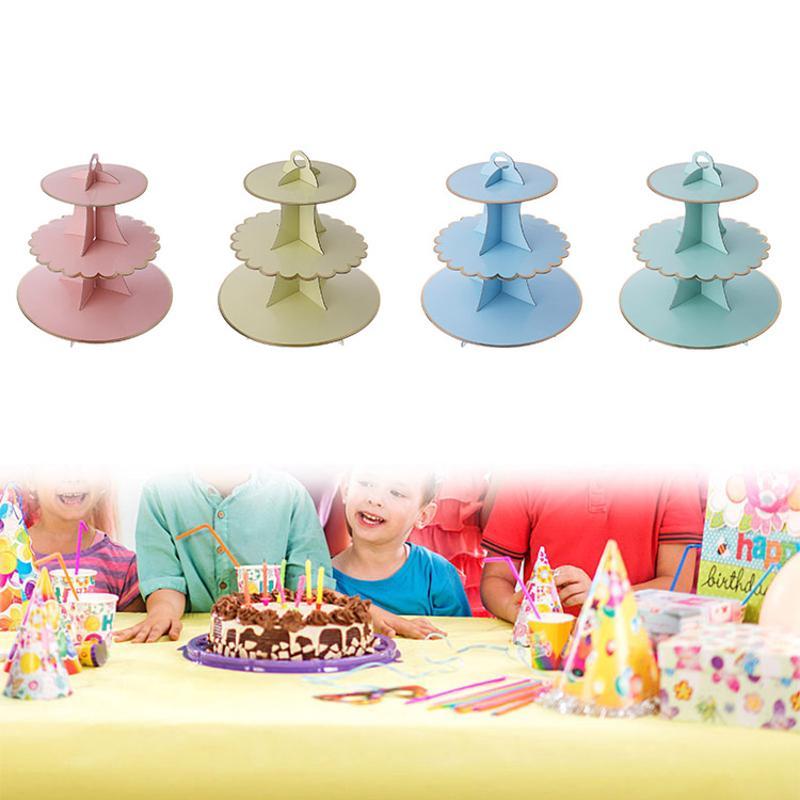 3 Tier Tort Stand Carton Baby Duş Copii Birthday Party Decor De