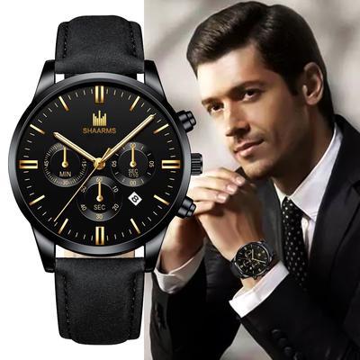 Men'S Watch Fashion Luxury Quartz Watch Men'S Leather Casual Watch