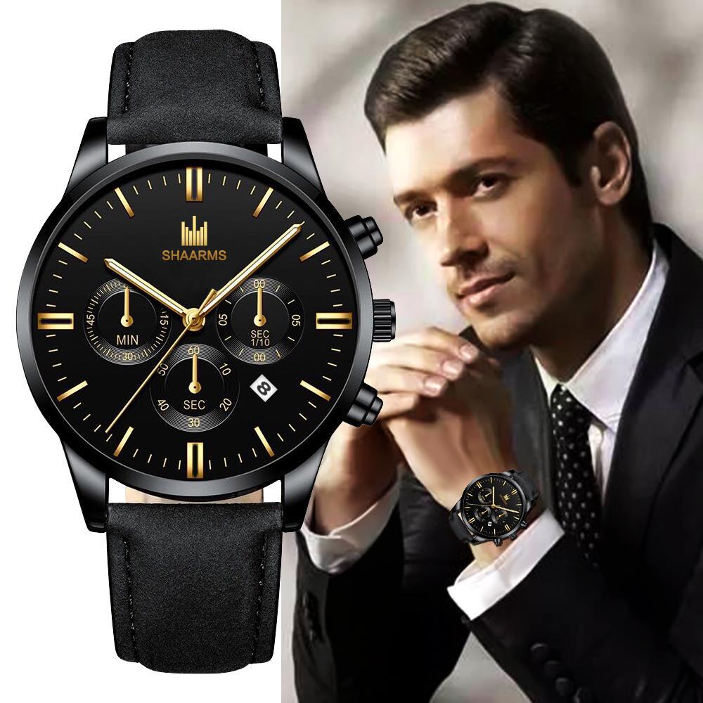 Мужские часы Мода Роскошная кварц Смотреть Мужская кожа случайные часы – купить по низким ценам в интернет-магазине Joom