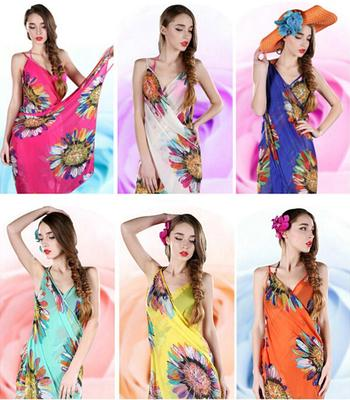 eab2d69691a04 Women Sexy Chiffon Bikini Cover Up Beach Swimwear Dress Scarf Pareo Sarong  Wrap