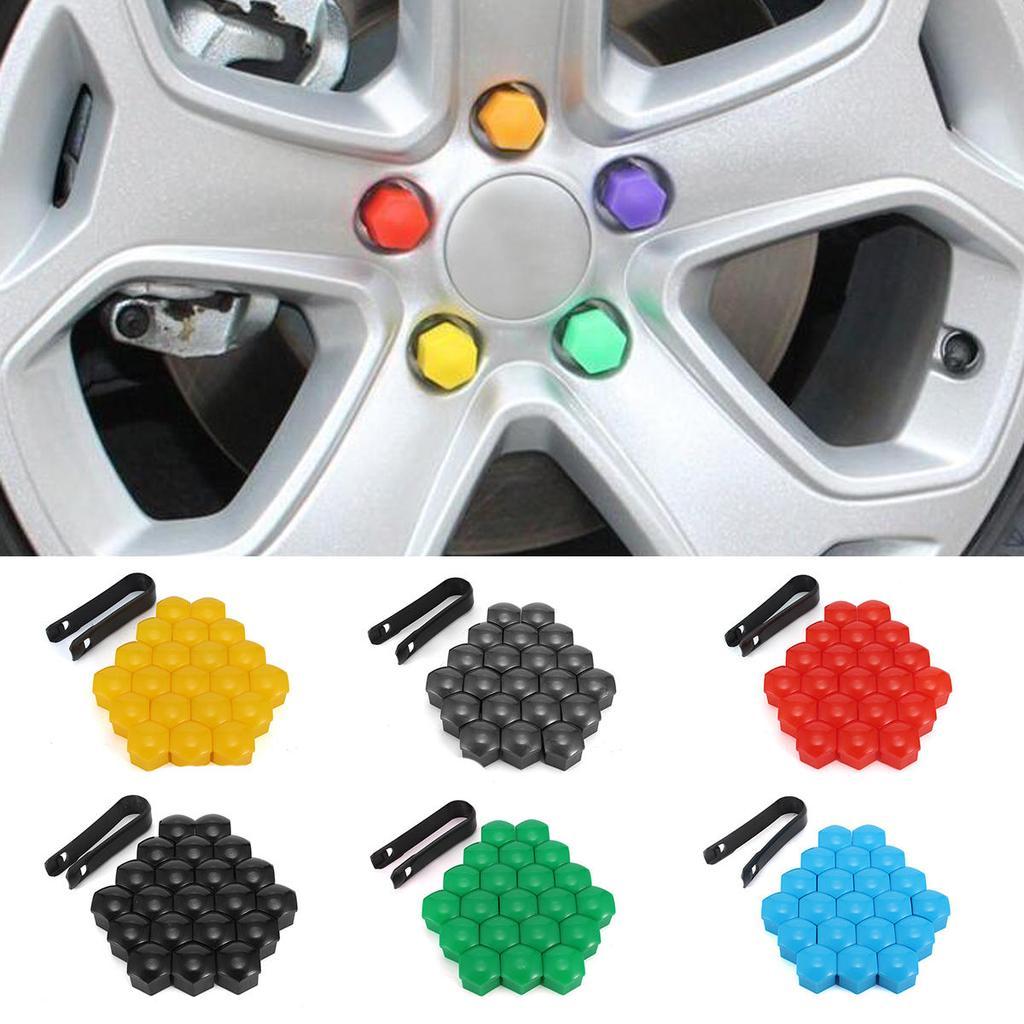 Paquete De 20 Pernos de rueda de coche de cromo Lugs Tuercas Tapas Cubre hexagonal de 17mm Para Mercedes
