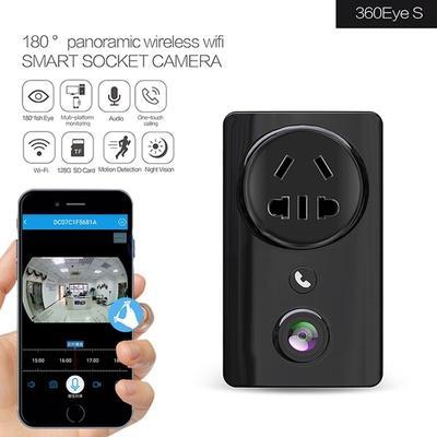 Wifi Smart Socket USB Wall EC59 180 degree Panoramic Fisheye