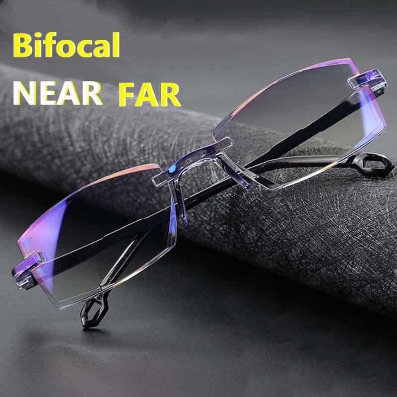 Rimless Бифокальные очки чтения Анти голубой луч пресбиописных очков Увеличение Алмазная Резка