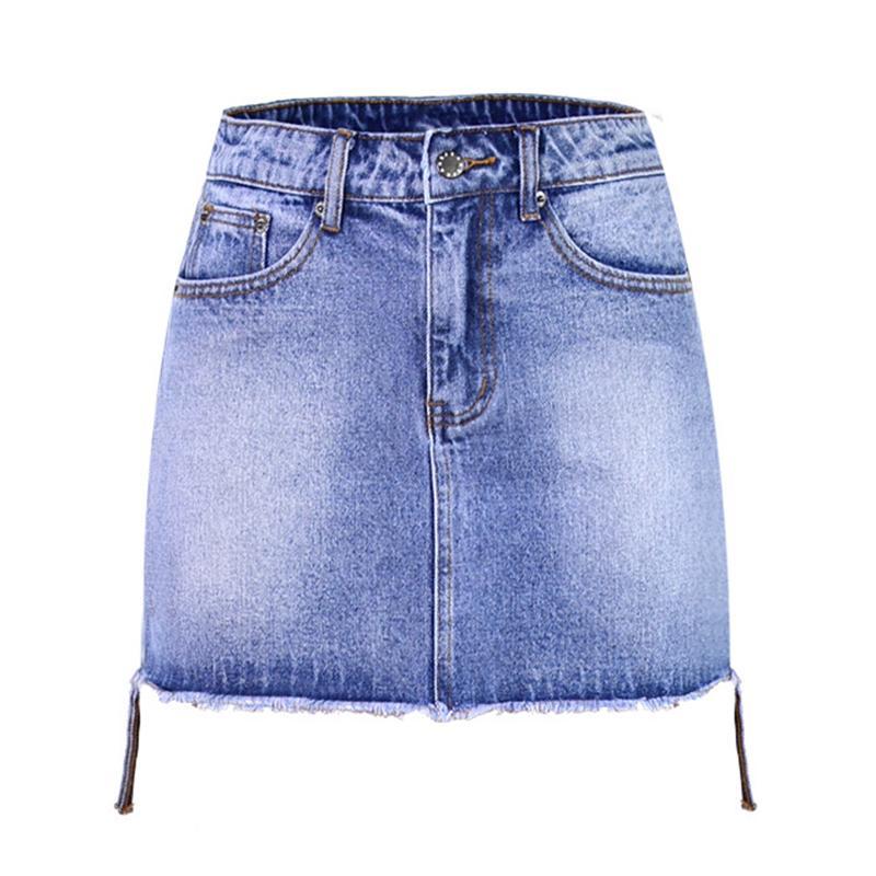 ae8867983 Denim Skinny falda borla flecos dobladillo partido fácil Mini falda de  mezclilla de las mujeres