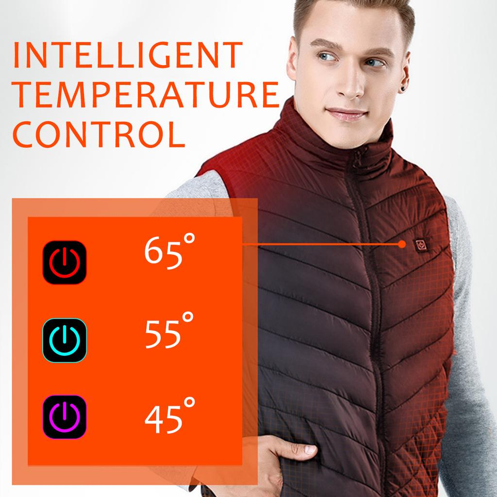 US Electric Heated Vest Jacket USB Thermal Warm Up Heating Pad Body Warmer Coat`