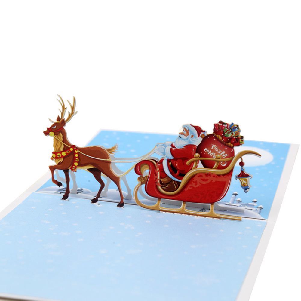 3D Christmas card Origami Christmas Deer Animal Holidays Greeting Cards Gift