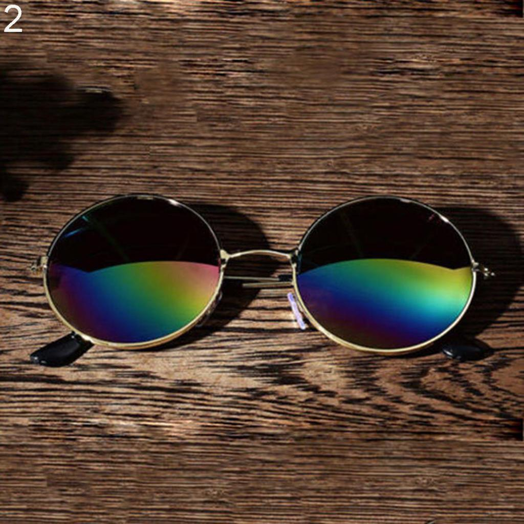 Vintage Retro Männer Frauen Runde Metallrahmen Sonnenbrille schwarz ...