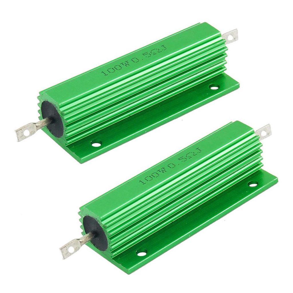 2 Pcs Green 50 Watt 25 Ohm 5/% Aluminum Shell Wire Wound Resistors