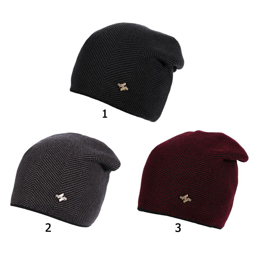 Color : Red, Size : One Size Hat Warm Knit Hat Plus Velvet Ear Protector Youth Cotton Cap
