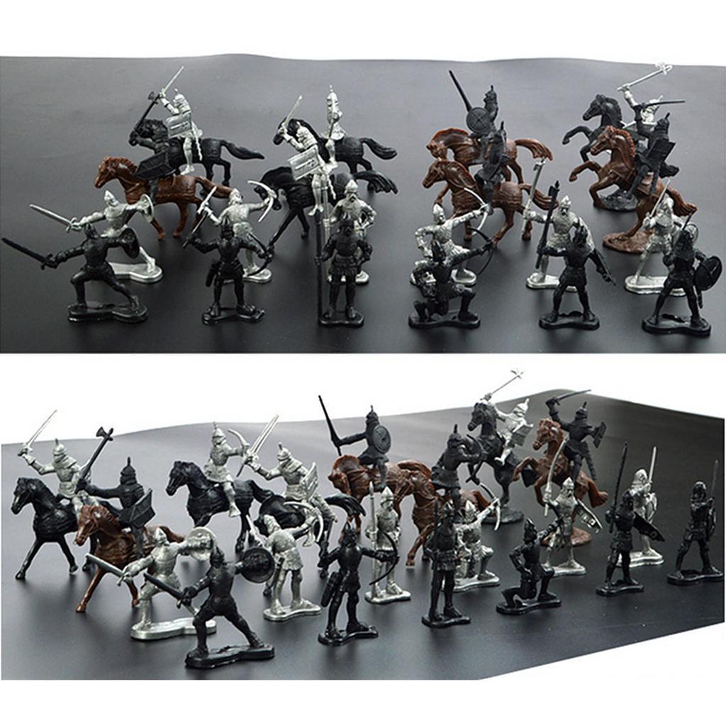 28pcs//Set Mittelalterlich Ritter Pferde Soldaten Modell Spielset Kinder