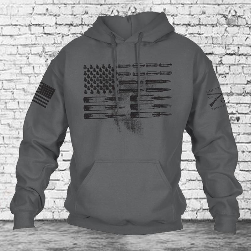 Men Hip-Hop Patriot Sweatshirt Ammo Flag Grunt Style Sweater Hoodie Hoodies