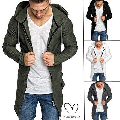 Men Hooded Solid Zipper Trench Coat Jacket Cardigan Long Sleeve Outwear Blouse