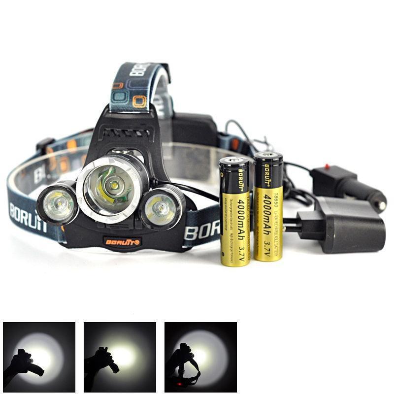 Chargeur Phare Frontale Boruit 6000lm Lampe Rechargeable 2x 18650 Flashlight De Torche Led 3x Tête Headlight À GUqzMVSpjL