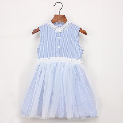 OCEAN-STORE Baby Girls Dress Toddler Kids Embroidery Stripe Party Pageant Princess Clothes