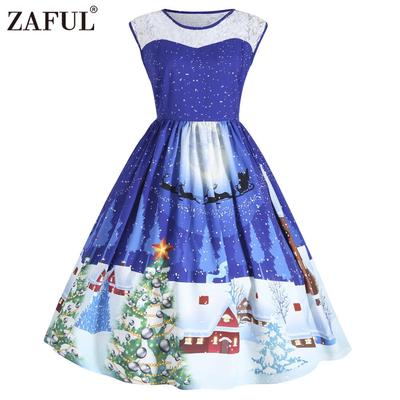 Women Vintage Lace-stitching Christmas Dress-buy at a low prices on