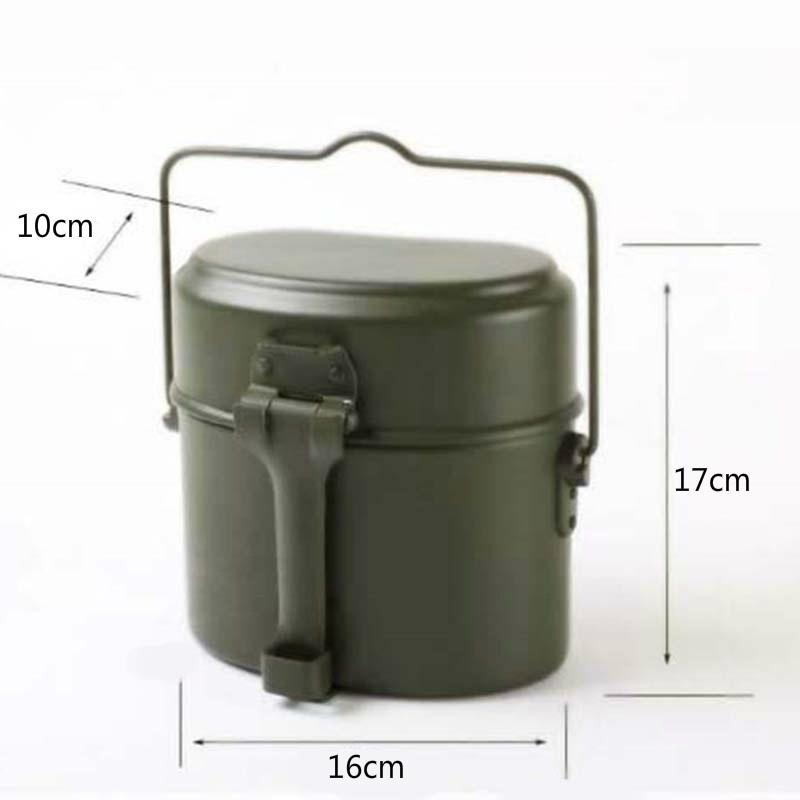 3 in 1 Army Military Mess Kit Lunch Box Outdoor Camping Canteen Kettle Pot Bowl