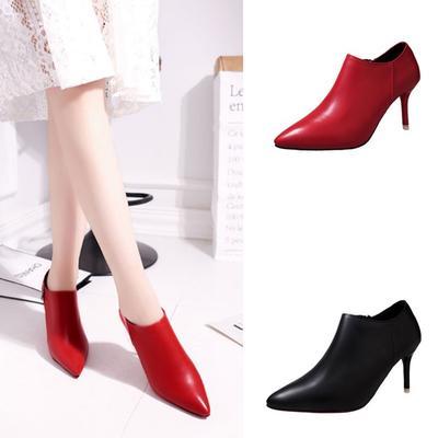 Жінки дами загострених взуття взуття штучна шкіра високі Повсякденне взуття  каблук насосів щиколотки чоботи 883abc89c2fcb