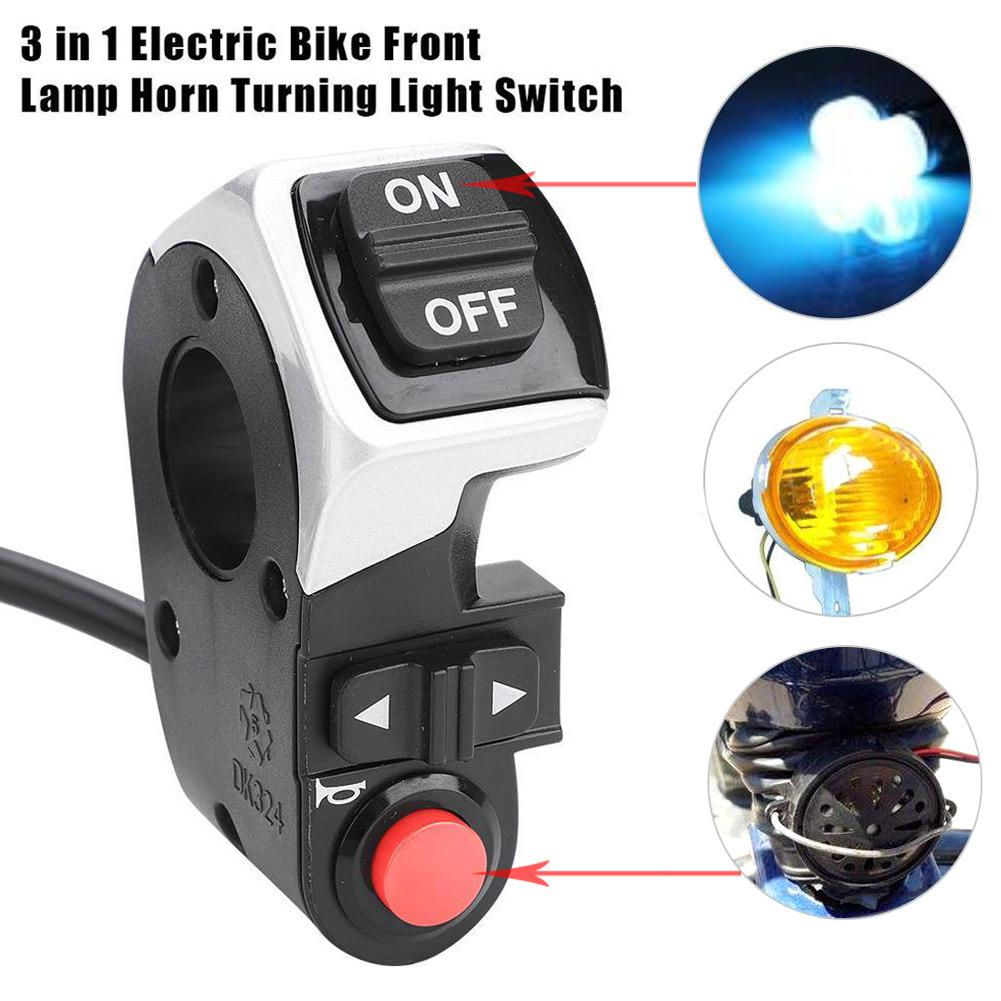 3IN1 Scooter E-bike Front Lamp Horn Turning Signal Light Electric Bicycle Switch