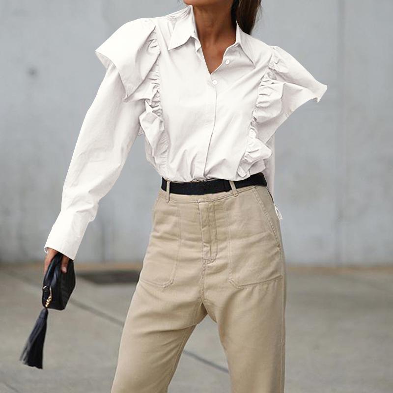 UK STOCK Women Puff Sleeve Tops Loose Work Office Shirt Evening Blouse Solid Tee