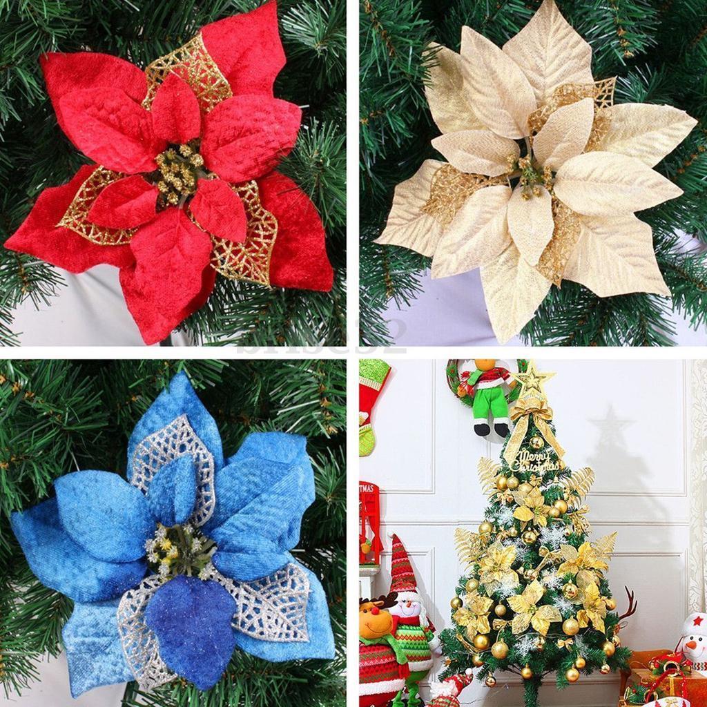 10pcs Christmas Tree Decor Plastic Flower Party Artificial Flowers Xmas Tree Kit
