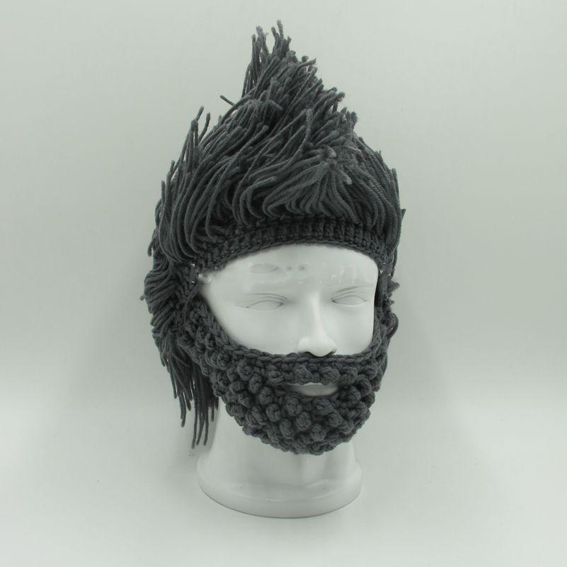 Invierno moda peluca barba sombreros Hobo Caveman tapa caliente ...