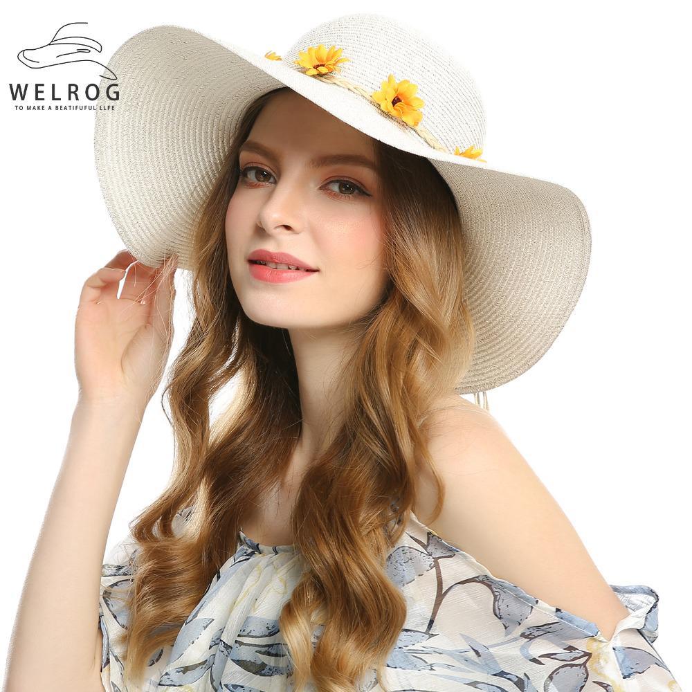 Playa de WELROG de la mujer Casual sombreros de paja flor corona ... 1f30f7037d3