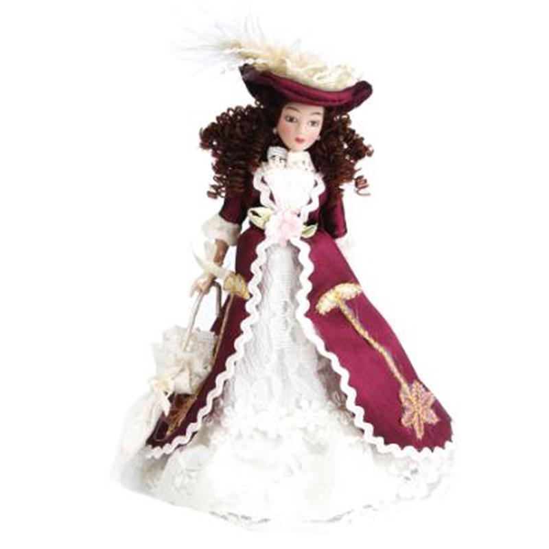 1:12 Dollhouse Miniature Porcelain Dolls Dollhouse Victorian Beauty Lady W4