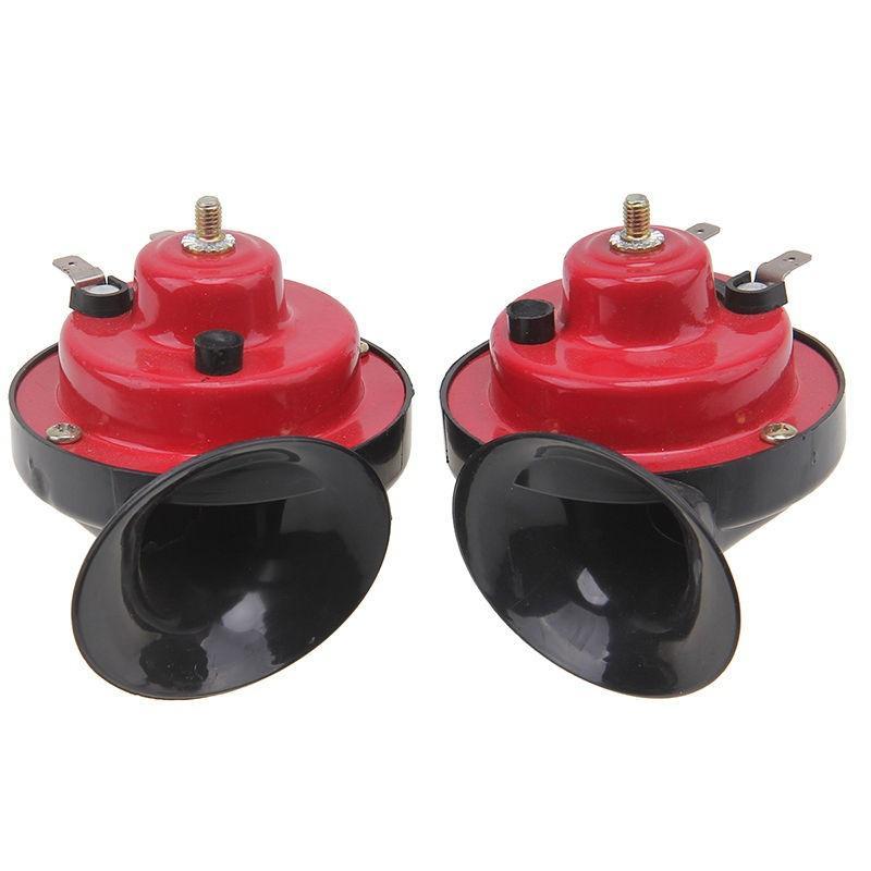 2PCS 12V Loud Car 110DB 510HZ Dual Tone Snail Electric Air Horn Siren Universal