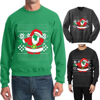 women and men winter dabbing santa claus crewneck sweatshirt ugly christmas sweater pullover hoodie