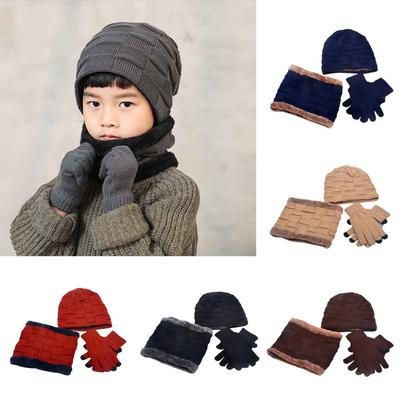 KiyomiQvQ Kids Warm Knitted Beanie Hat with face covering and Circle Scarf Set