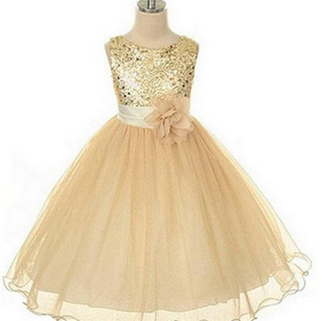 Kids Flower Girl Dress beige Sequined Tulle Wedding Party Dresses Age 7-14 Years