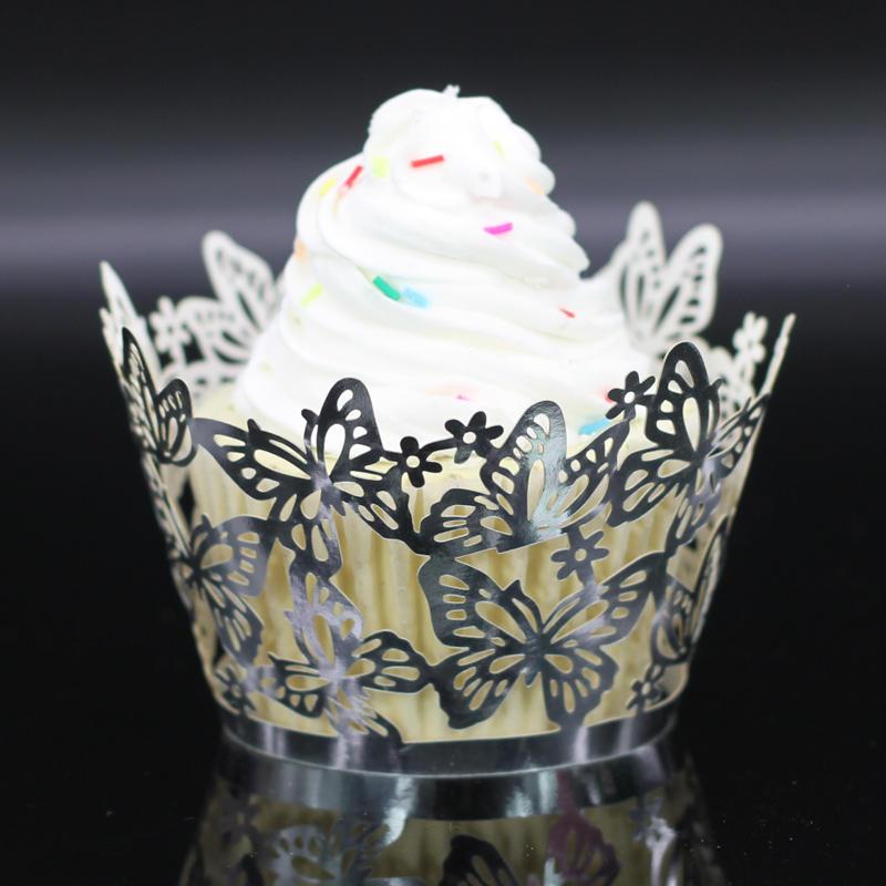 50pcs Fluture Tort Muffin înveliş Cupa Cupcake Linie Caz Nunta De
