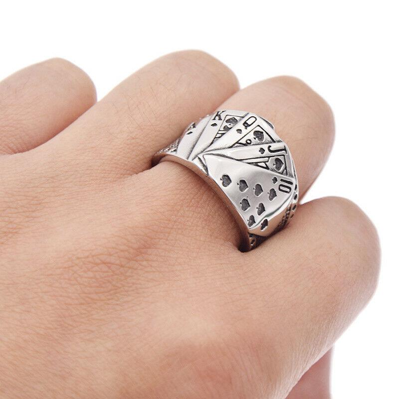 Details about  / Men Unique Play Card Game Lucky Poke Silver Titanium Stainless Steel Ring 8-12