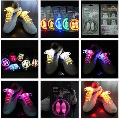 LED Flash Luminous Light Up Glow Nylon Strap Shoelace Shoe Laces Disco Party