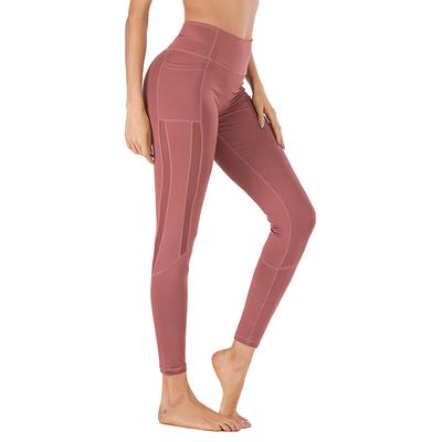 Toraway Womens Screen Stitching Mobile Phone Pocket Sports Yoga Nine-Minute Pants Women Running Pants Yoga Pants