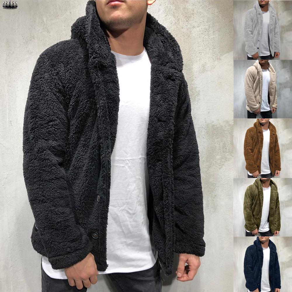 Мужской осенне-зимний однотонный кардиган, повседневная блузка, флисовые топы, пальто – купить по низким ценам в интернет-магазине Joom