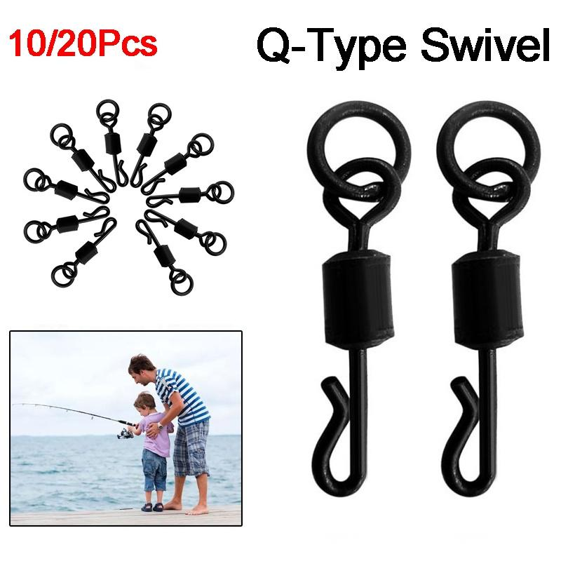 20pcs//set Q-shaped Rolling Quick Change Swivels Carp Fishing Terminal Tackle