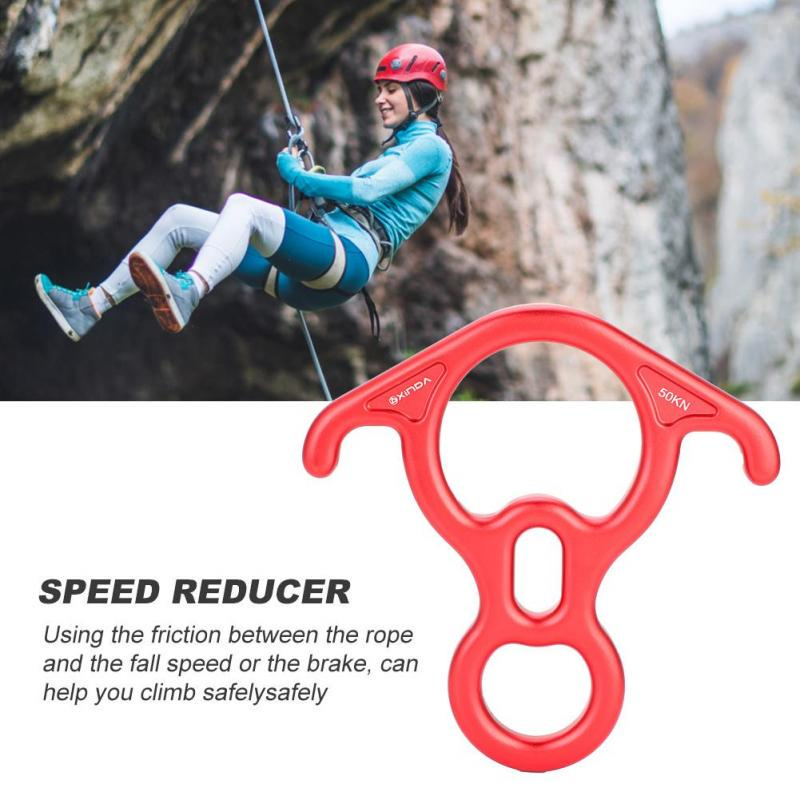 Safety 50KN Aluminum Figure 8 Descender for Climbing Rope Rescue Rappelling Red