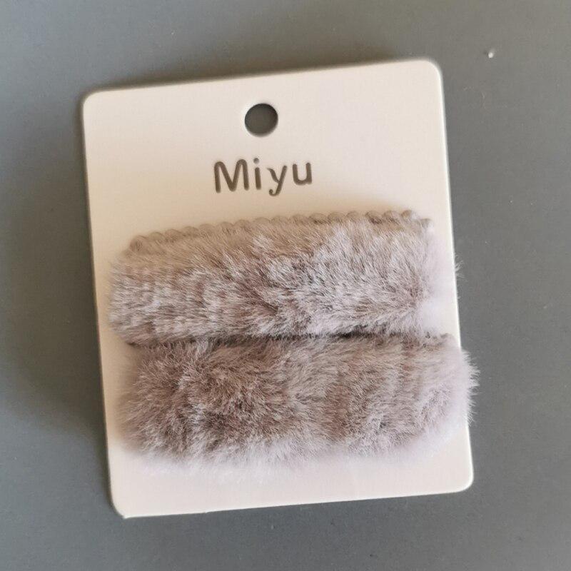 2Pcs//Set Winter Plush Square Hairpins Soft Faux Fur BB Hair Clips Hair Barrettes