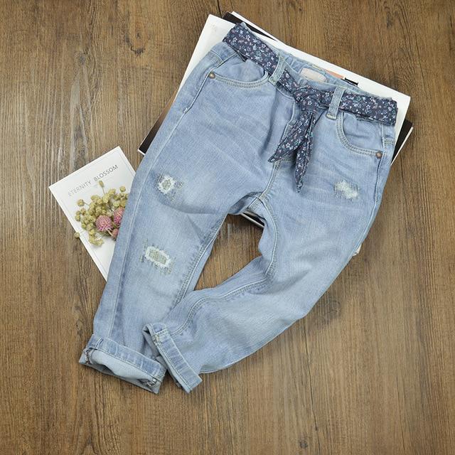 nobrand Bambini Bambini Bambini Neonate Pantaloni a Zampa Denim Nappa Abbigliamento Jeans Pantaloni
