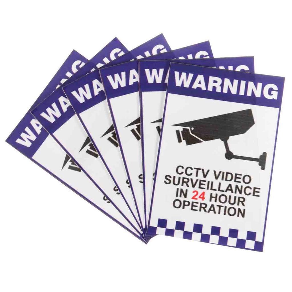 3PCS 24 Hour Warning Sign Video Surveillance Monitor Decal Sticker 150*100MM