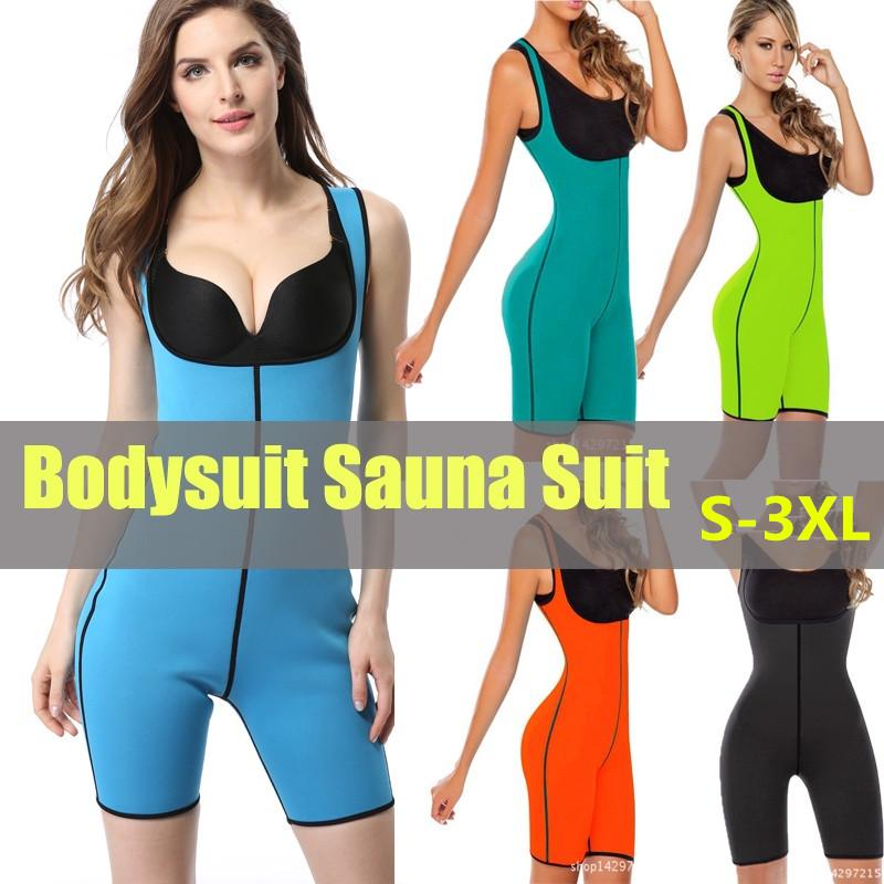 Hot Shapers Bodysuit Sauna Suit Waist Trainer Corsets Neoprene Body Shaper Women,Orange,S