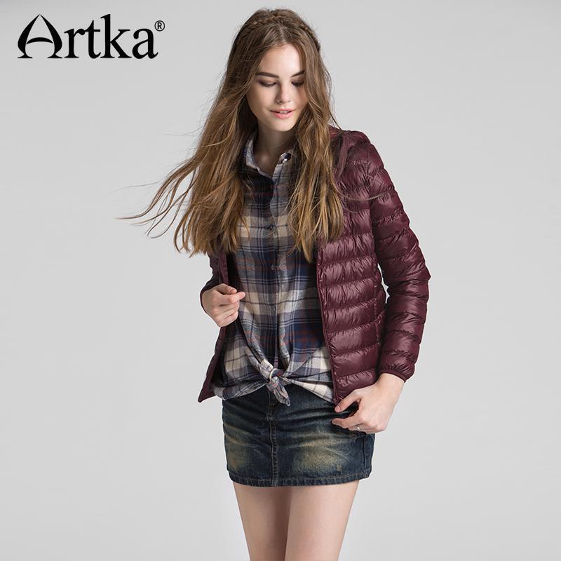 Artka otoño invierno y Ultra ligero corto mujer abajo chaqueta 90% blanco  pato hembra delgada capa con capucha - comprar a precios bajos en la tienda  en ... c3ae72b44896