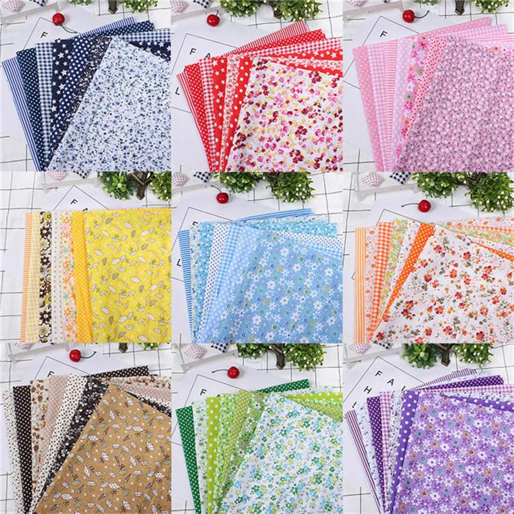 9PCS DIY Square Quilting Floral Cotton Patchwork Cloth For Craft Sewing 25x25cm
