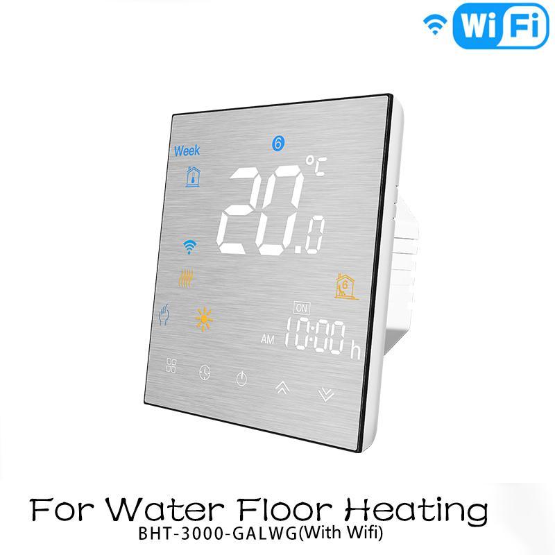 Contr/ôleur de temp/érature MOES Smart Thermostat WiFi Panneau en m/étal bross/é Smart Life APP T/él/écommande pour chauffage au sol /électrique 16A Compatible avec Alexa