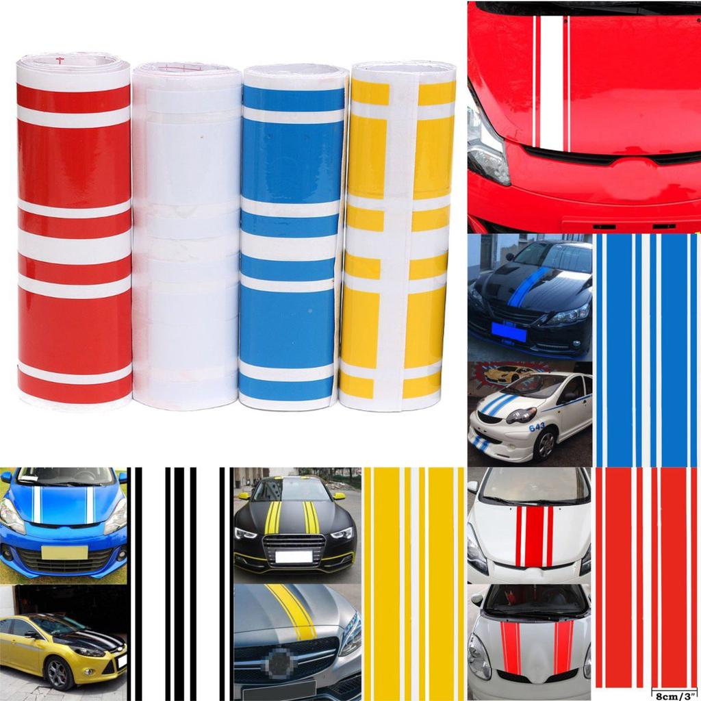 Red Car Stickers Car Mirror Stripes Graphics 2 pcs 1 Pair 20 x 2cm Red