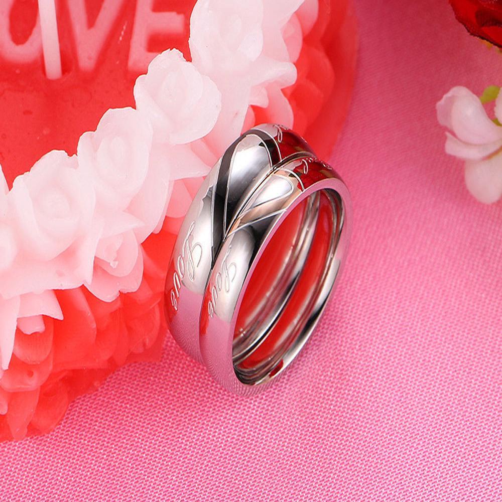Fashion Titanium Simple Ring With Zircon Inlaid For Women Wedding ...