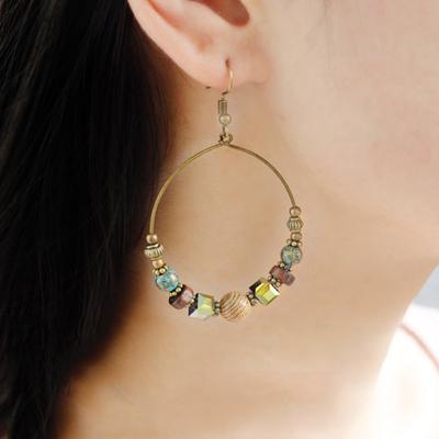 Bar Heart Clip On Tassel Dangle Earrings Bohemian Rhinestone Eardrop Green