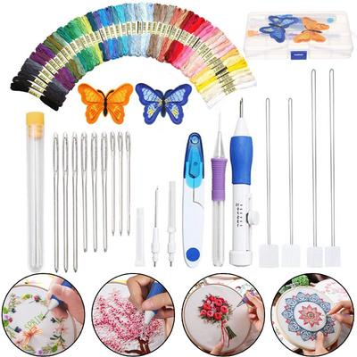 DIY Knitting Embroidery Pen Punch Needle Threader Set Wood Handle Sewing Weaving
